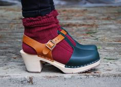 New T-bar clogs in green and tan Lotta From Stockholm