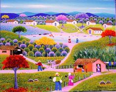 *VALQUIRIA BARROS arte naif brasileira* Surrealism Photography, Jolie Photo, Naive Art, Whimsical Art, Indian Art, Landscape Art, Beautiful Images, New Art, Amazing Art