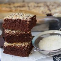 German Chocolate Brownies with Sweet Coconut Topping