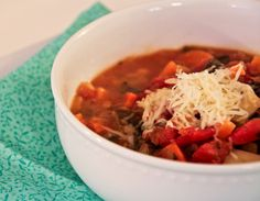 This hearty, healthy, minestrone soup is perfect for fall: delicious, packed with veggies and flavor, and under 200 calories per serving!