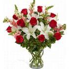 Online Flower Delivery Service, Send Flowers to Ukraine Spring Flower Arrangements, Vase Arrangements, Spring Flowers, Centerpieces, Send Flowers Online, Glass Cylinder Vases, Oriental Lily, Hot Pink Roses, Rose Gift