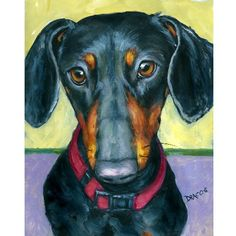 Dachshund Dog Art 8x10 Print of Original Painting by DottieDracos, $12.00