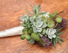 Boutonnieres, succulents, blueberries, lavender, natural elements.