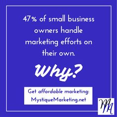 47% of small business owners handle #marketing efforts on their own. Why?
