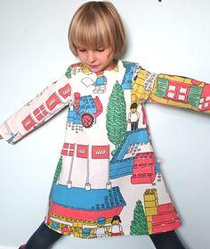 Upcycled Vintage Lego Fabric Long Sleeve Dress Age 5-6