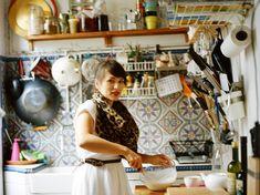Rachel Khoo cooking in her little Paris apartment............