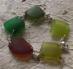 seaglass jewelry - fal in love diamond shape seaglass links bracelet   Flickr - Photo Sharing!