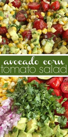 Avocado Corn Tomato Salad Side Dish Avocado Healthy Recipe Avocado Corn Tomato Salad is an easy light and refreshing salad Chunks of avocado sliced tomato and frozen. Frozen Corn Recipes, Corn Salad Recipes, Avocado Recipes, Avocado Dessert, Avocado Salad, Avocado Toast, Avacado Lunch, Side Dishes For Bbq, Healthy Side Dishes