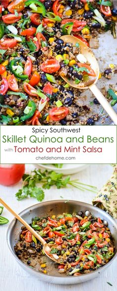 Mexican Quinoa and Beans Skillet with Zesty Mint and Tomato Salsa for quick and easy Weekday Dinner | chefdehome.com