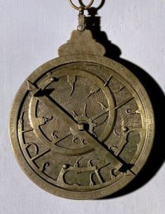 Arabic astrolabe of the Columbus room. Madrid, naval museum. Location: MUSEO NAVAL / MINISTERIO DE MARINA, MADRID, SPAIN.  - stock photo