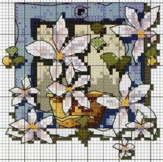 'Sunny Windowsill' from Michael Powell's 'Mini Cross Stitch' book (paperback, pub. Search Press). There are twenty to make and they are all very quirky and appealing. I have made most of the pictures in this book for someone or other and they are a real pleasure to work on.
