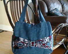 Denim bag, denim purse, jean purse, buckle and bow bag, blue jean tote, denim handbag, fabric bow bag, denim tote, jean tote, blue jean bag