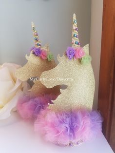Your place to buy and sell all things handmade : Unicorn Centerpiece/Unicorn Birthday/Unicorn Baby Shower Unicorn Themed Birthday Party, Birthday Table, Birthday Party Decorations, 1st Birthday Parties, Girl Birthday, Cake Birthday, Birthday Ideas, Table Decorations, Tutu Centerpieces