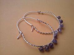 Silver Earrings wire wrapped,amethyst gemstone earrings,purple stone earrings,hoop earrings,swirl earrings,dangle earrings by magyartist by magyartist on Etsy