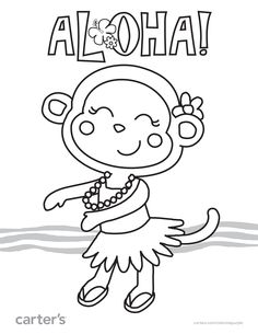 Aloha Sign Printable Coloring Sheet