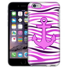 Apple iPhone 6 Anchor on Pink White Zebra Print Case from Trek Cases