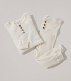 Henley Tee and Pant PJ Set: Color - Ivory
