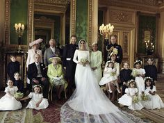 The Duke and Duchess of Sussex are pictured in The Green Drawing Room, Windsor Castle, with (left-to-right): Back row: Master Jasper Dyer, Camilla, the Duchess of Cornwall, Prince Charles of Wales, mother of the bride Doria Ragland, Prince William, Duke of Cambridge Middle row: Brian Mulroney, Prince Philip, Duke of Edinburgh, Her Majesty Queen Elizabeth II, Catherine, Duchess of Cambridge, Princess Charlotte, Prince George, Rylan Litt and John Mulroney Front row: Ivy Mulroney, Florence van…