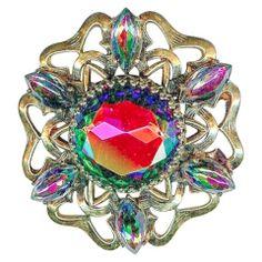 Exquisite Vtg SCHIAPARELLI Watermelon Rainbow Colors Gold Tone Star Brooch Pin