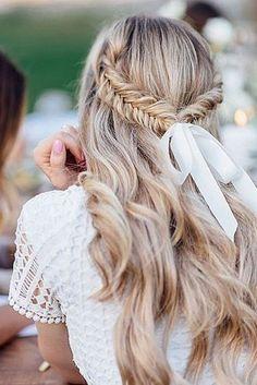 bridal hair accessories to inspire hairstyle braided half up half down with white ribbon nochesdevase via instagram