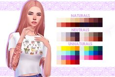Wingssims OS0226 Hair recolored in WMS colors • 40 naturals & neutrals colors | 75 merged colors • You need the mesh DOWNLOAD over at my blog CREDIT: @wildlyminiaturesandwich for the pallete and...
