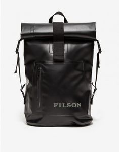 From Filson, a versatile, waterproof backpack with an ergonomically shaped design. Features a roll top with VELCRO® tab closure, adjustable side buckle straps, adjustable padded shoulder straps with nylon loops, front zipper pocket with logo and an oval b