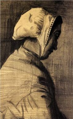 Head of a Woman - Vincent van Gogh . Created in The Hague in December - January , 1882 - Located at Van Gogh Museum Arte Van Gogh, Van Gogh Art, Art Van, Theo Van Gogh, Vincent Van Gogh, Van Gogh Drawings, Van Gogh Paintings, Camille Pissarro, Edouard Manet