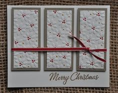 handmade Christmas card ... three panel design ...  embossed poinsettias on white .. luv the red coloring for the flower centers ... Stampin' Up!