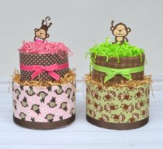Twin Diaper Cakes Twin Monkey Diaper Cakes Boy by babyblossomco Twin Diaper Cake, Monkey Diaper Cakes, Twin Babies, Twins, Twin Baby Gifts, Jungle Safari, Pink And Green, Shower Ideas, Boy Or Girl