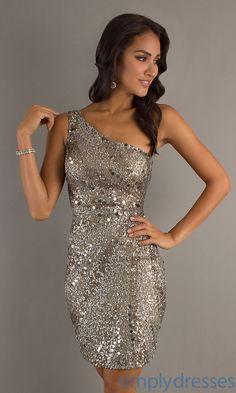 Short One Shoulder Dresses, Scala Sequin Dresses - Simply Dresses