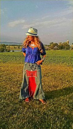 Boho Hippie Maxi Skirt, Upcycled, Hippie Bohemian Clothing, Tiered Bohemian Skirt, Tribal Inspired Print Jean Denim Skirt by AmyandAnnaDesigns on Etsy https://www.etsy.com/listing/234840232/boho-hippie-maxi-skirt-upcycled-hippie