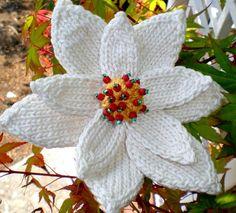 mooie bloem edelweiss look-a-like PDF Knit Flower Pattern  Poinsettia Knit Flower by OhmayDIY, $6.00