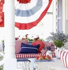 All-American Style: Red, White, & Blue Rooms! | This classic American front porch is beautiful on the 4th of July and all year long!