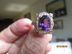 Vintage Art Deco 4.00ctw Genuine Amethyst 14K Rose Gold/925 Sterling Silver Filigree Ring Size 7, Wt. 4.2 Grams by TamisVintageShop on Etsy