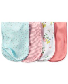 Carter's Baby Girls' 4-Pack Burp Cloths