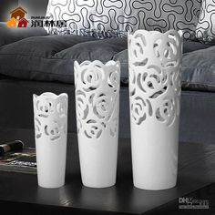 Wholesale Cutout rose ceramic vase decoration white porcelain home crafts accessories gift, Free shipping, $66.21~72.23/Piece | DHgate