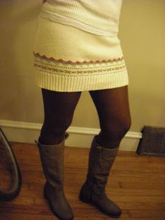 How to Make a Sweater Skirt - No Sew Tutorial