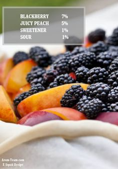 Blackberry Peach eliquid recipe - Associez la pêche et la mûre pour créer un e liquide e cigarette doux et rafraichissant ! #vape #ecig #diy
