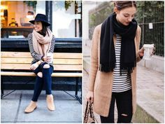 Throw on a chunky scarf with a long sleeve tee or cardigan for an easy fall outfit