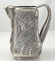 Tiffany Antique Sterling Indian Style Pitcher 1880