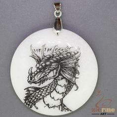 STONE  NECKLACE COLOR PAINTING Dragon PENDANT WHITE GEMSTONE ZL7000441 #ZL #Pendant