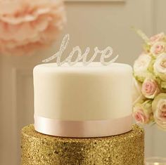 """Top your wedding cake with our stunning silver sparkle """"Love"""" cake topper.Silver Love Cake Topper - Top your wedding cake with this stunning silver sparkle Love cake topper. Wedding Cake Stands, Unique Wedding Cakes, Unique Cakes, Wedding Cake Toppers, Unique Cake Toppers, Love Cake Topper, Wedding Decorations For Sale, Wedding Ideas, Cake Accessories"""