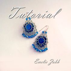 Beading tutorial. beaded earrings. ! Tutorial instructions  earrings,beaded jewelry tutorial.Crystal earrings tutorial.Beadwork tutorial.
