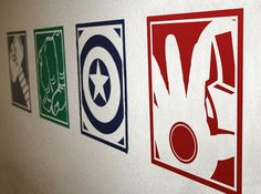 Superhero, The Avengers; Thor, The Hulk, Ironman and Captain America Vinyl Wall Decals on Etsy, $29.99