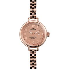 Shinola The Birdy Rose Gold Dial PVD Rose Gold Stainless Steel Ladies... ($473) ❤ liked on Polyvore featuring jewelry, watches, analog watches, stainless steel watches, bezel bracelet, rose gold bracelet and water resistant watches