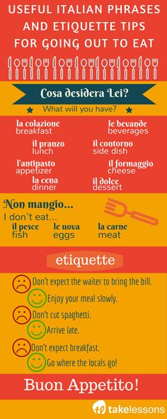 Italian Phrases and Etiquette Tips for Going Out to Eat Italian Grammar, Italian Vocabulary, Italian Words, Italian Language, Korean Language, Japanese Language, Spanish Language, French Language, Rome Travel