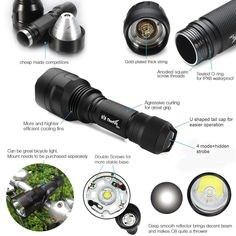 Ultra Bright Multi-functional Modes Mini Flashlights, Bicycle Lights, Usb, Strobing, Led Flashlight, Biking, Moonlight, Cycling, Hunting