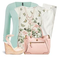 """""""Billie & Blossom Cream FLoral Border Blouse"""" by lbite ❤ liked on Polyvore featuring J.Crew, maurices, Billie & Blossom, Tory Burch, Jimmy Choo and Charter Club"""