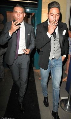 Charlie Sims and Mario Falcone toasted the end of another series with some cigars as they left the London party
