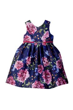 Floral Jeweled Poppies Dress (Toddler & Little Girls)